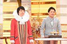 """(左から)""""オーガーナイザー相田""""に扮する三四郎・相田、千鳥ノブ。(c)テレビ朝日"""