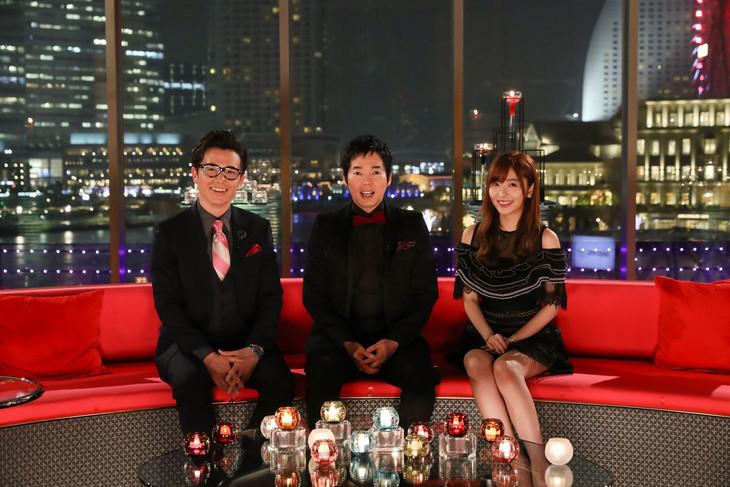 「バチェラー・ジャパン」シーズン2スタジオトークパートに出演する(左から)オリエンタルラジオ藤森、今田耕司、指原莉乃。