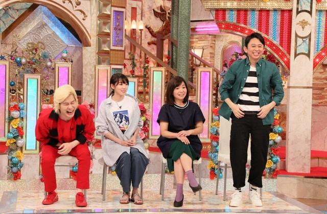 ゲストの(左から)メイプル超合金カズレーザー、飯豊まりえ、大久保佳代子、有吉弘行。(c)テレビ朝日