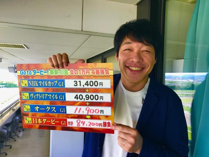 「競馬BEAT」で「炎の1万円4番勝負」に臨む麒麟・川島。(c)関西テレビ