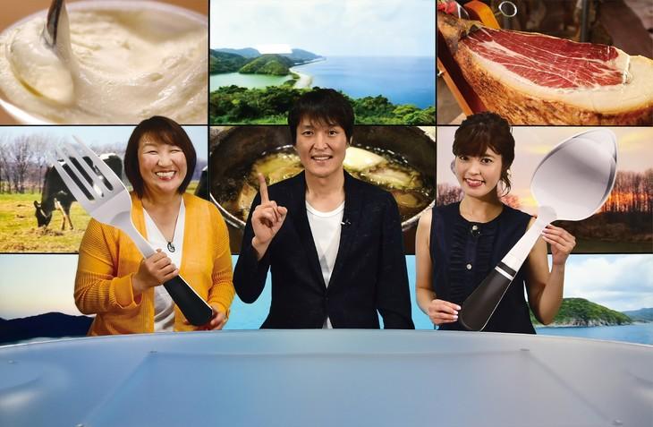 「こんなトコロに絶品グルメ!? お取り寄せレストラン」に出演する(左から)北斗晶、千原ジュニア、神田愛花。(c)HBC