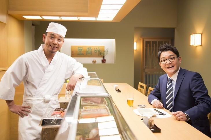 新CM「寿司屋篇」撮影中の様子。