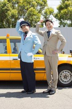 新CM「タクシー篇」撮影中の様子。