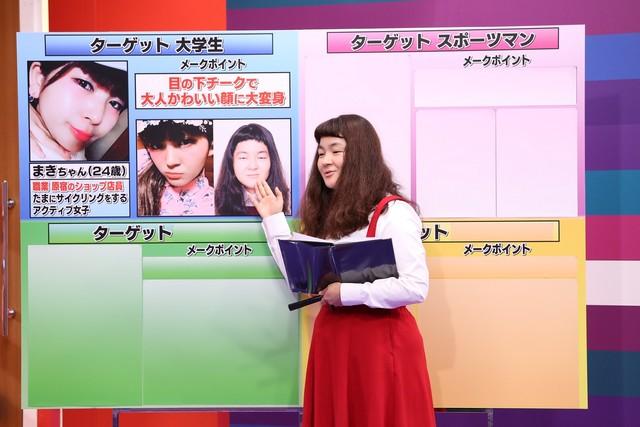 「採用!フリップNEWS」でボードを用いて自身の詐欺メイクにまつわるプレゼンを展開する、ゆにばーす・はら。(c)中京テレビ