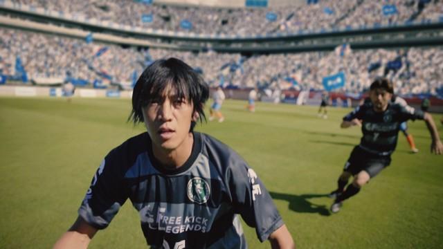 「サッカー好きだけでつくるCM」のワンシーン。