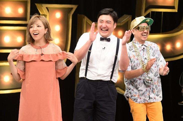「有田ジェネレーション」に出演する(左から)ゆーびーむ☆、川井、シオマリアッチ。(c)TBS