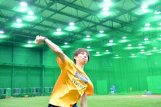 投球練習中の様子。