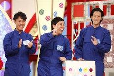 (左から)服部優陽アナ、霜降り明星。(c)関西テレビ