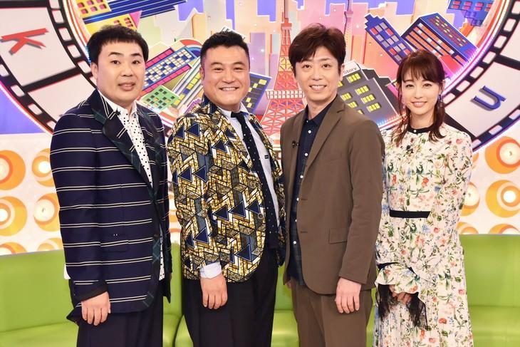 「東京らふストーリー」MCの(左から)フットボールアワー岩尾、アンタッチャブル山崎、フットボールアワー後藤、新井恵理那。