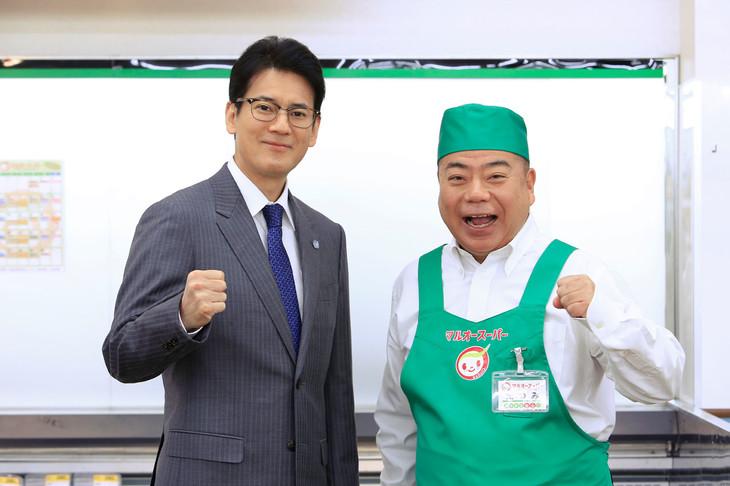 「ハラスメントゲーム」で共演した唐沢寿明(左)、出川哲朗(右)。