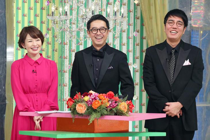 司会を務める松丸友紀アナウンサー、おぎやはぎ(左から)。