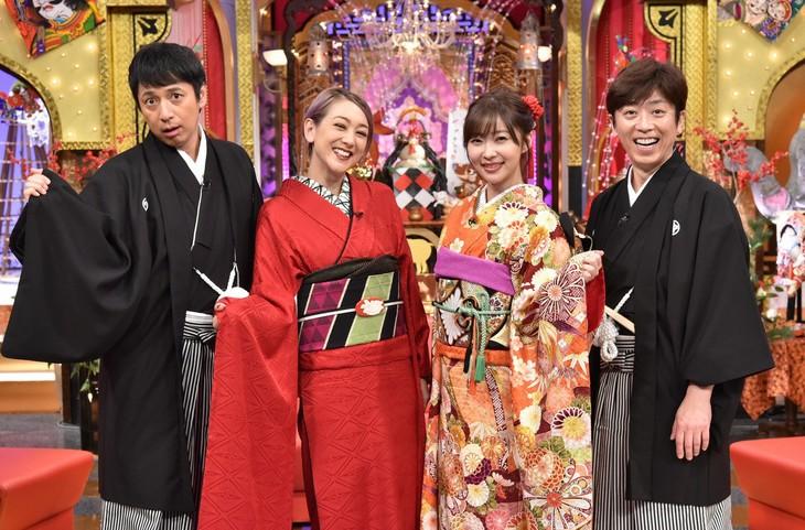左からチュートリアル徳井、SHELLY、指原莉乃、フットボールアワー後藤。(c)日本テレビ