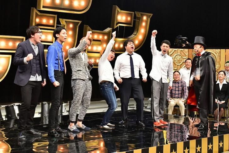 「有田ジェネレーション」に出演する「サンドウィッチマン激推し芸人」たち。(c)TBS