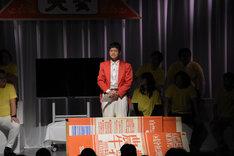 「牛乳斉唱」を行う大会実行委員長のもう中学生。