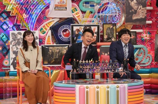 (左から)松井玲奈、雨上がり決死隊。(c)テレビ朝日