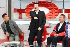 左からくりぃむしちゅー上田、チョコレートプラネット。(c)日本テレビ
