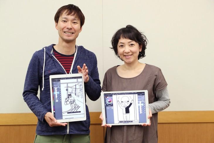 マシンガンズ滝沢(左)と妻・友紀さん(右)。