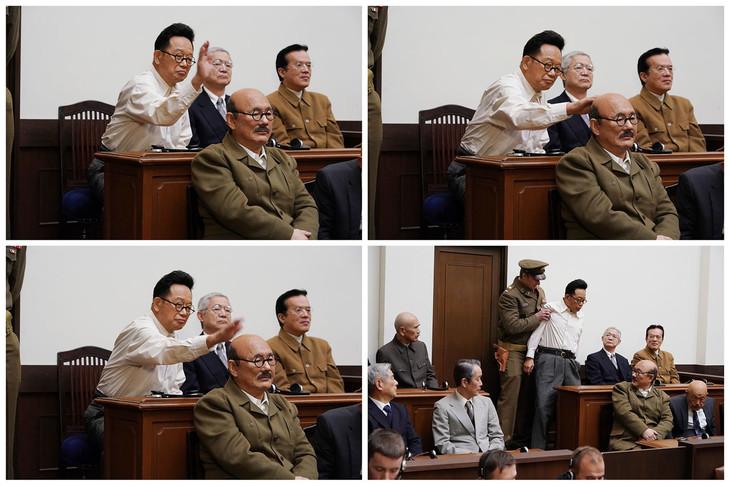 ビートたけしと笑福亭鶴瓶が演じる東京裁判のシーン。