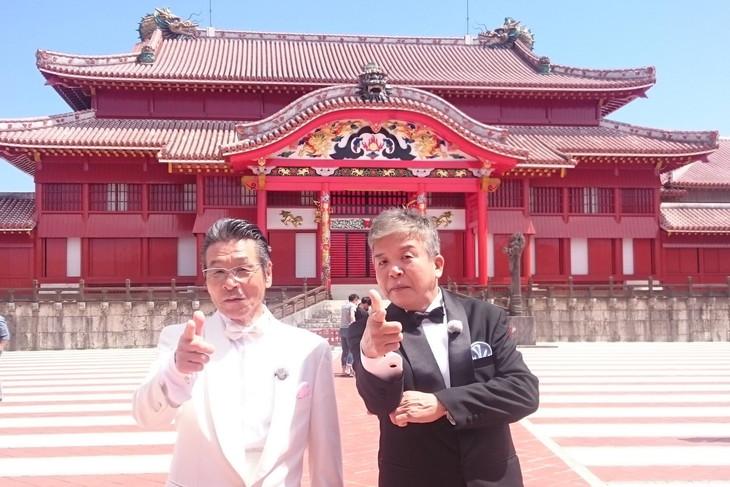 「おかべろ 秘伝ハンターSP in 沖縄」に出演する(左から)間寛平、村上ショージ。(c)関西テレビ