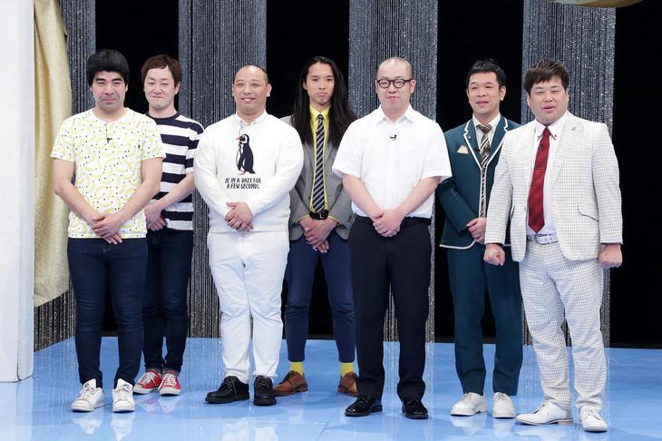 「ネタギリッシュNIGHT新人戦」出場する(左から)インポッシブル、トム・ブラウン、ルシファー吉岡、プラス・マイナス。