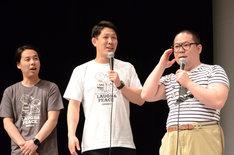 電話の声だけの出演に終わったと語るネルソンズ和田まんじゅう(右)。