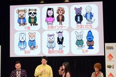 千鳥、和牛、ミキら「対決!よしもと大運動会」に登場するキャラクターたち。
