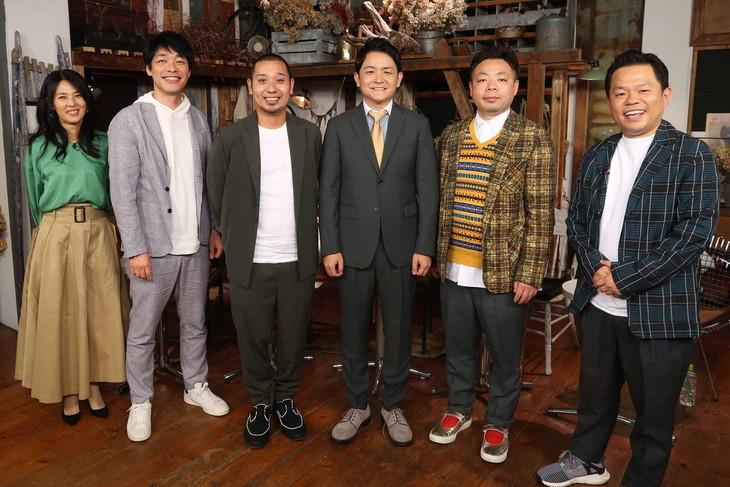 「千鳥の『話の引き出し』」に出演する(左から)井森美幸、麒麟・川島、千鳥、ダイアン。(c)関西テレビ