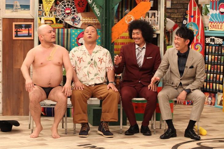 「さんまのお笑い向上委員会」に出演する(左から)ハリウッドザコシショウ、バイきんぐ西村、トータルテンボス。(c)フジテレビ