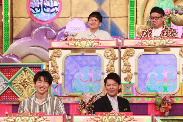 「潜在能力テストSP」に出演する(下段左から)KENZO、ますだおかだ岡田と、ミキ(上段)。(c)フジテレビ