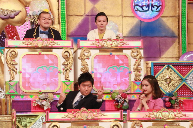 (下段左から)藤井弘輝アナ、谷まりあと、カミナリ(上段)。(c)フジテレビ
