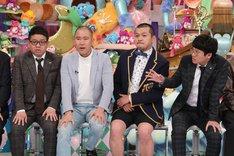 (左から)ミキ昴生、コロコロチキチキペッパーズ・ナダル、カミナリまなぶ、ミキ亜生。(c)テレビ朝日