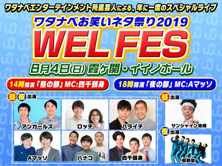 「ワタナベお笑いネタ祭り2019~WEL FES~」イメージ