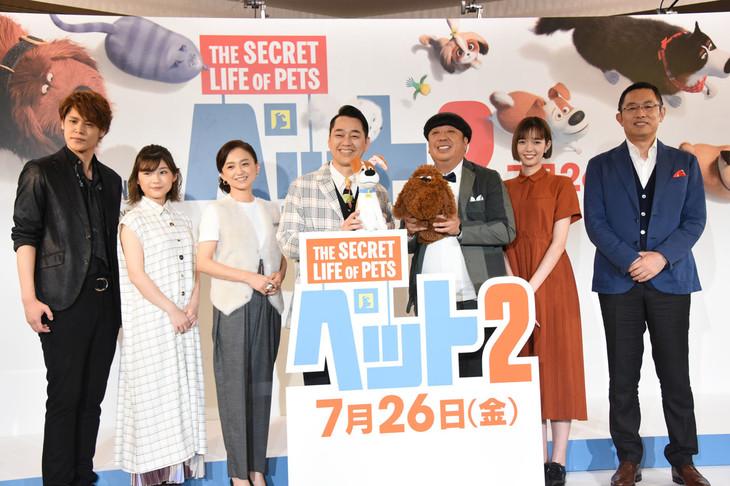 左から宮野真守、伊藤沙莉、永作博美、設楽統、日村勇紀、佐藤栞里、内藤剛志。