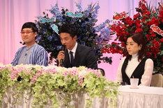 (左から)南海キャンディーズ山里、原田龍二、松本明子。(c)フジテレビ