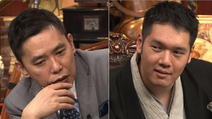 「太田松之丞」に出演する(左から)爆笑問題・太田、神田松之丞。(c)テレビ朝日