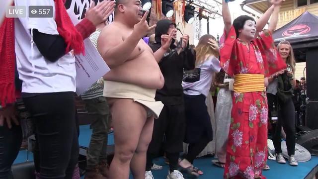 優勝したGIGA BODY, METAL, from JAPAN。(@heavymetalknittingのFacebookより。)