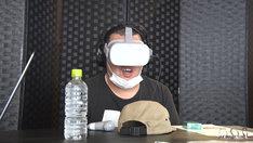 VRお化け屋敷「マンホール」をチェックする野性爆弾くっきー。(c)MBS