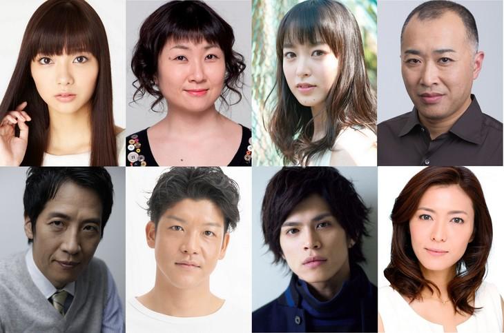 「TAKE FIVE 2」出演者。上段左から、新川優愛、猫背椿、朝倉あき、八十田勇一。 下段左から、小須田康人、駿河太郎、山本裕典、安蘭けい。