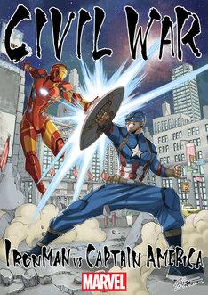 """真島ヒロが描き下ろした、アイアンマン対キャプテン・アメリカの""""友情決裂""""ビジュアル。"""