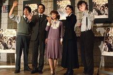 ミュージカル「ブラック メリーポピンズ」囲み取材より、左から上山竜治、小西遼生、中川翔子、一路真輝、良知真次。