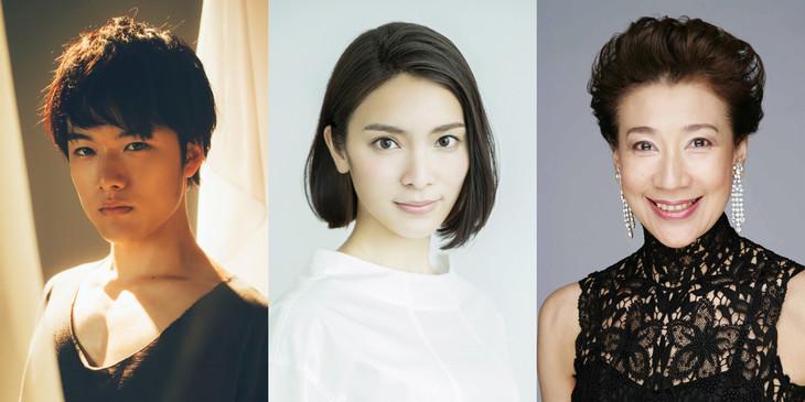 「夜が私を待っている ~ナイト・マスト・フォール~」出演者。左から入江甚儀、秋元才加、前田美波里。