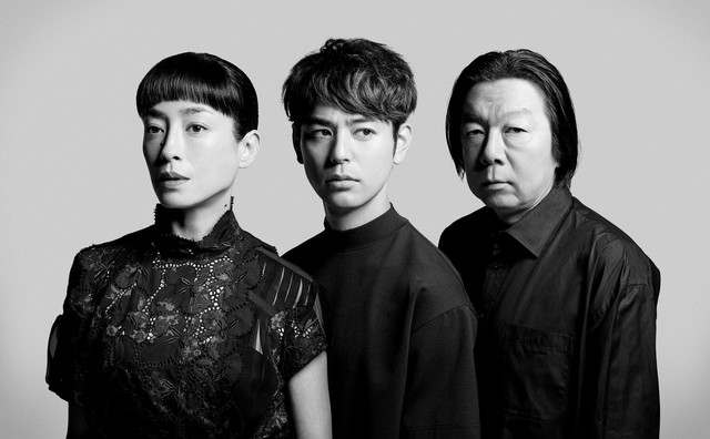 NODA・MAP「足跡姫 ~時代錯誤冬幽霊~」出演者。左から宮沢りえ、妻夫木聡、古田新太。