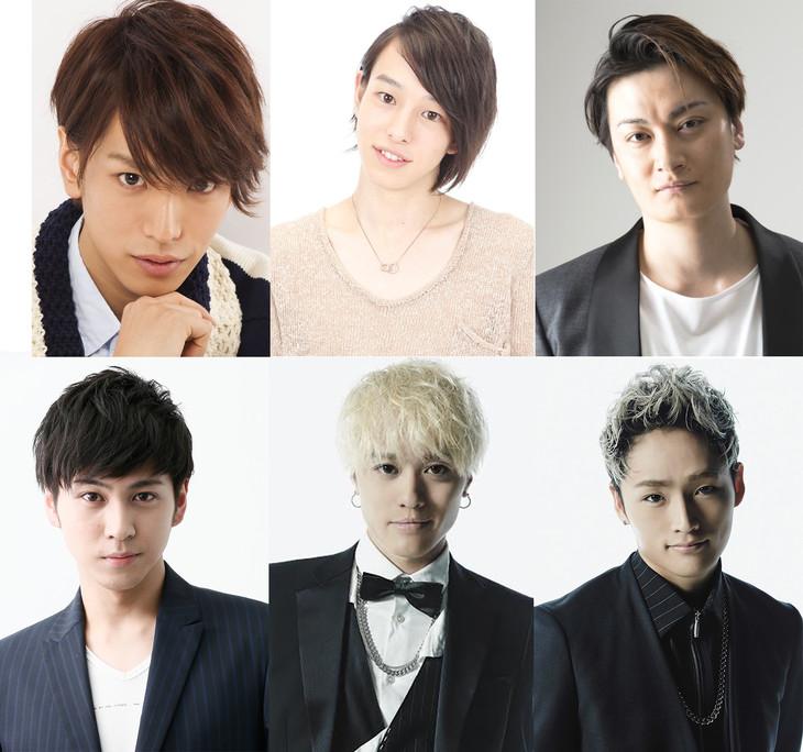 「舞台『私のホストちゃんREBORN』」のゲスト出演者。左から時計回りに黒羽麻璃央、杉江大志、中村龍介、T-MAX、KODAI、井澤勇貴。