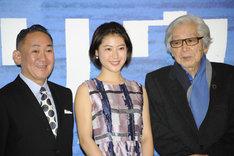 音楽劇「マリウス」製作発表記者会見の様子。左から林家正蔵、瀧本美織、山田洋次。