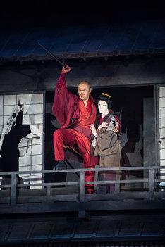 「六本木歌舞伎 第二弾『座頭市』」公開舞台稽古より。