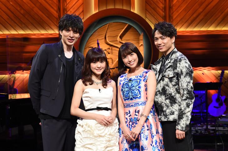 """BS-TBS「『Sound Inn """"S""""』~ミュージカルスペシャル」出演者。左から城田優、昆夏美、新妻聖子、山崎育三郎。"""