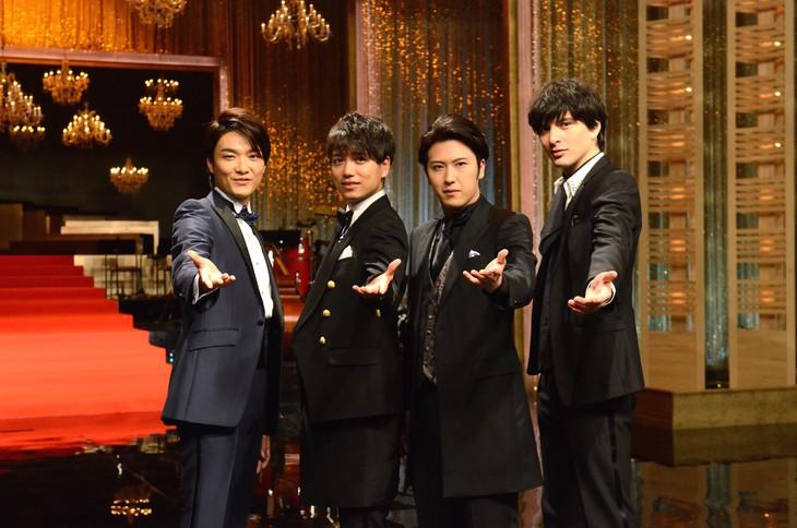 「SONGSスペシャル」記者会見より。左から井上芳雄、山崎育三郎、尾上松也、城田優。