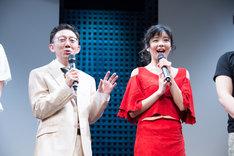 「minako-太陽になった歌姫-」記者会見より。左から野沢トオル、田村芽実。