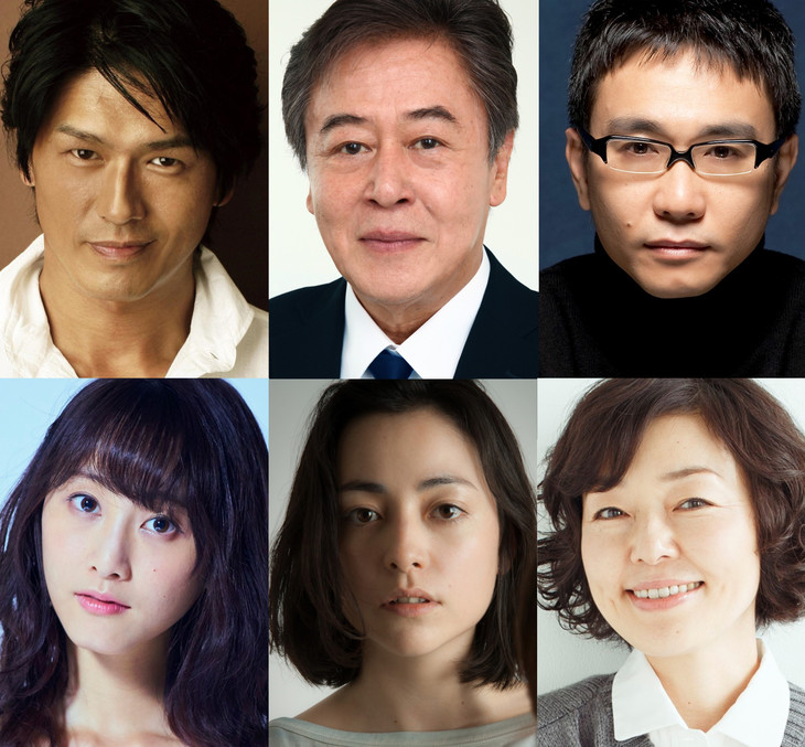 シアターコクーン・オンレパートリー2017「24番地の桜の園」の出演者。上段左から高橋克典、風間杜夫、八嶋智人。下段左から松井玲奈、美波、小林聡美。