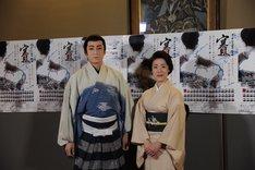 第1回 日本舞踊 未来座「賽 SAI」囲み会見より。左から松本錦升(市川染五郎)、中村梅彌。